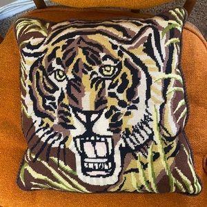 VTG Needlepoint Animal Print Leopard Throw Pillow